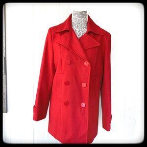 📂New York & Company Jacket Red  Peacoat 10